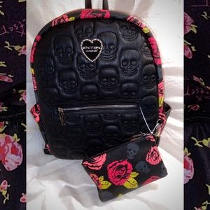 Betsey Johnson Black Skull Floral Backpack